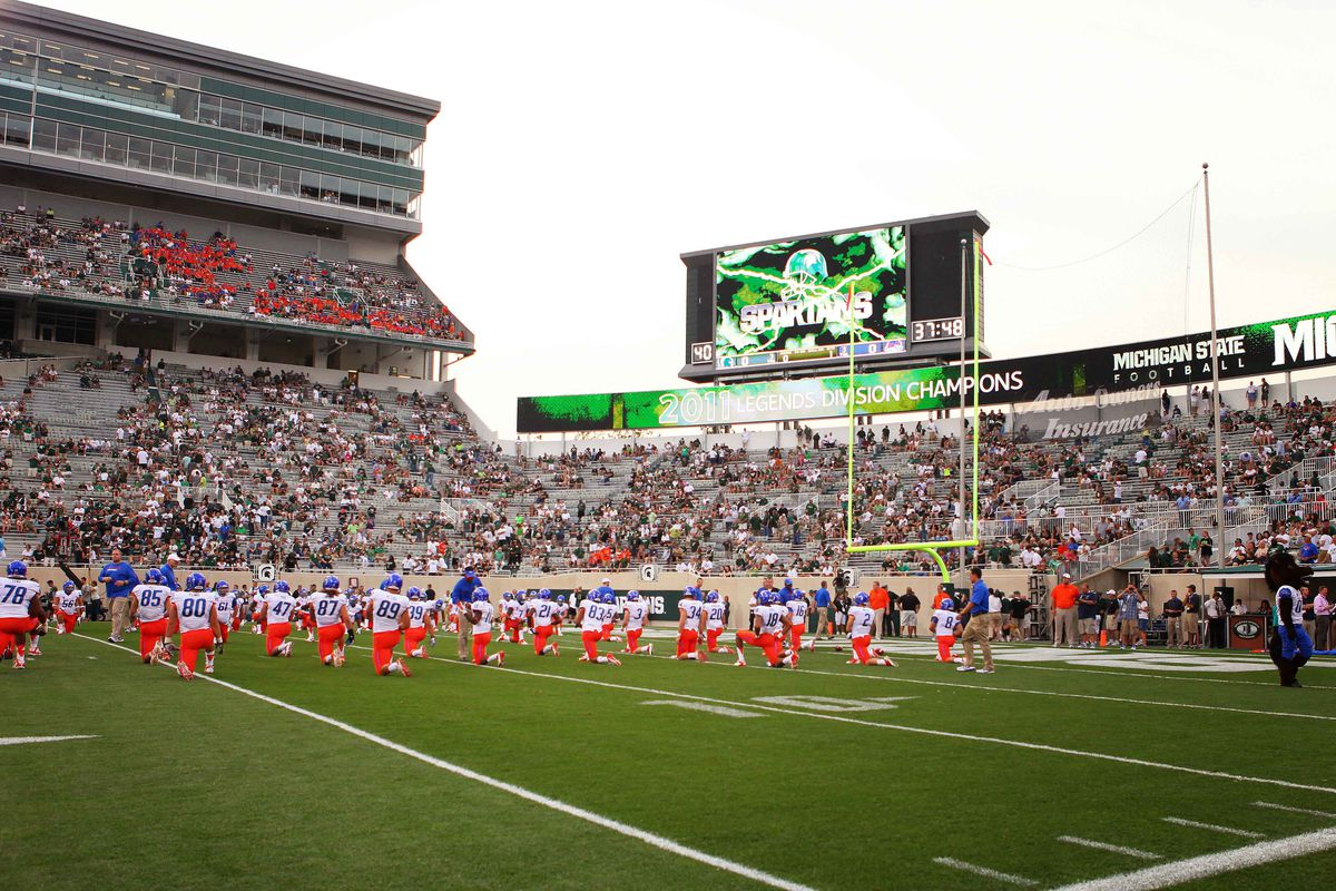August 31, 2012; East Lansing, MI, USA; General view of Boise State Broncos prior to start of game at Spartan Stadium.    Mandatory Credit: Mike Carter-US PRESSWIRE