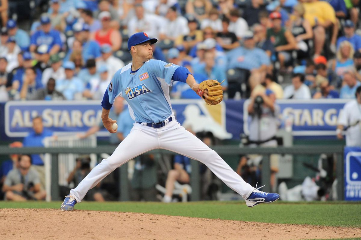 July 9, 2012; Kansas City, MO, USA; USA pitcher Zack Wheeler (45) delivers a pitch in the seventh inning of the 2012 All Star Futures Game at Kauffman Stadium. Mandatory Credit: Denny Medley-US PRESSWIRE