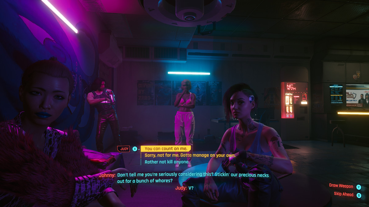 Johnny Silverhand has some unsavory attitudes about sex workers in Cyberpunk 2077