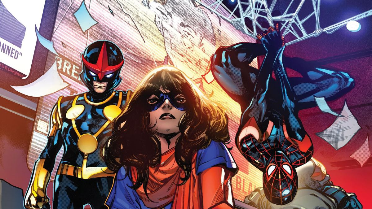 """Nova, Ms. Marvel, and Miles Morales/Spider-Man pose in a shadowy boardroom full of incapacitated guards. The room is littered with posters that say """"NO TEEN VIGILANTES."""" Ms. Marvel is tearing one in half. From the cover of Outlawed #1, Marvel Comics (2020)."""