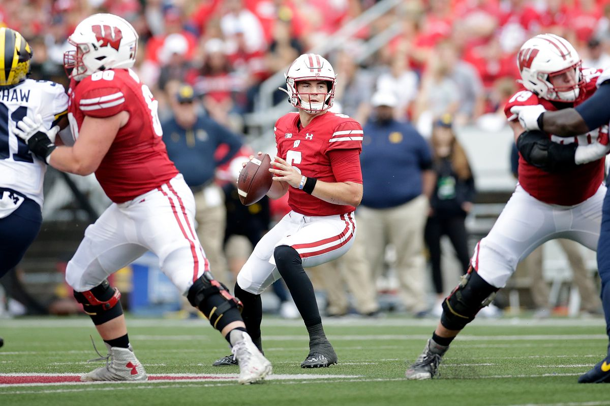 Graham Mertz of the Wisconsin Badgers looks to pass against the Michigan Wolverines at Camp Randall Stadium on October 02, 2021 in Madison, Wisconsin.