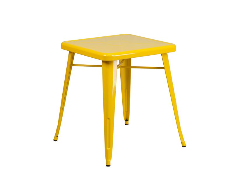 A square yellow metal table with four legs.