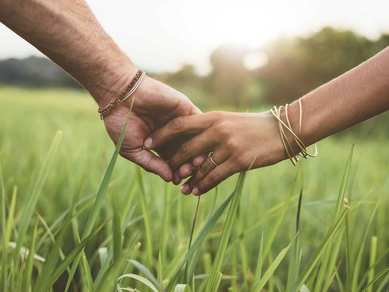 A shot of hands holding one another in a field.