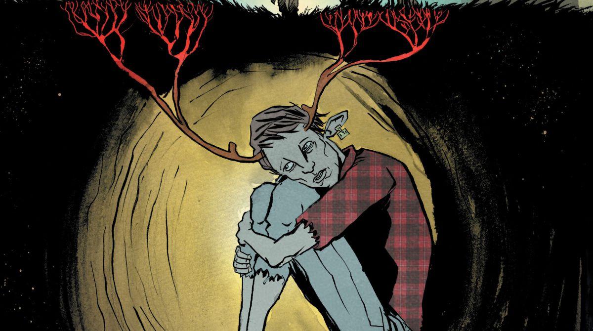 Gus se sienta en un túnel subterráneo, abrazando sus rodillas, sus astas creciendo en la tierra hasta convertirse en raíces rojo sangre, en la portada de Sweet Tooth # 9 (2010).