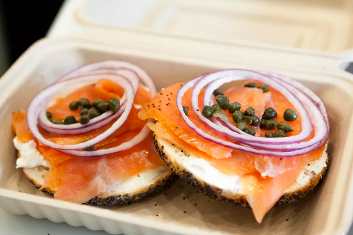 Two Wise Sons bagels with salmon, onion, and capers