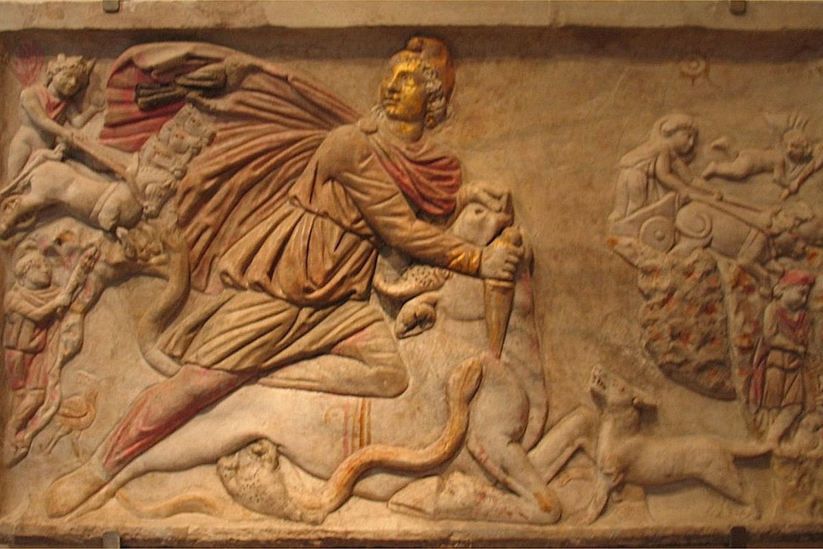 Mithras slaying the Bull Primeval. No word on the bull's preference for horrid energy drinks.