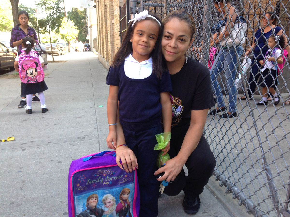 Catherine Rodriguez and her daughter Janelis at P.S./I.S. 218 in the Bronx.