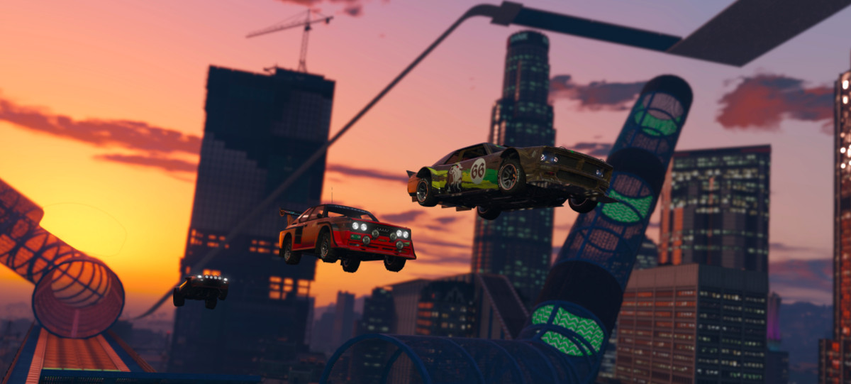 Some cars fly through the air in GTA Online.