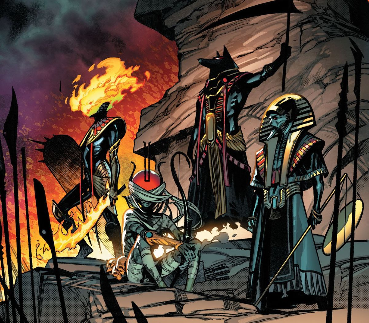 Apocalypse's first horsemen, decked out in ancient Egyptian style, a mummified sun-headed archer, a flame faced figure with a blazing sword, a jackal-headed god with a scythe, and an Egyptian death masked man with a scale, in X of Swords: Creation, Marvel Comics (2020).
