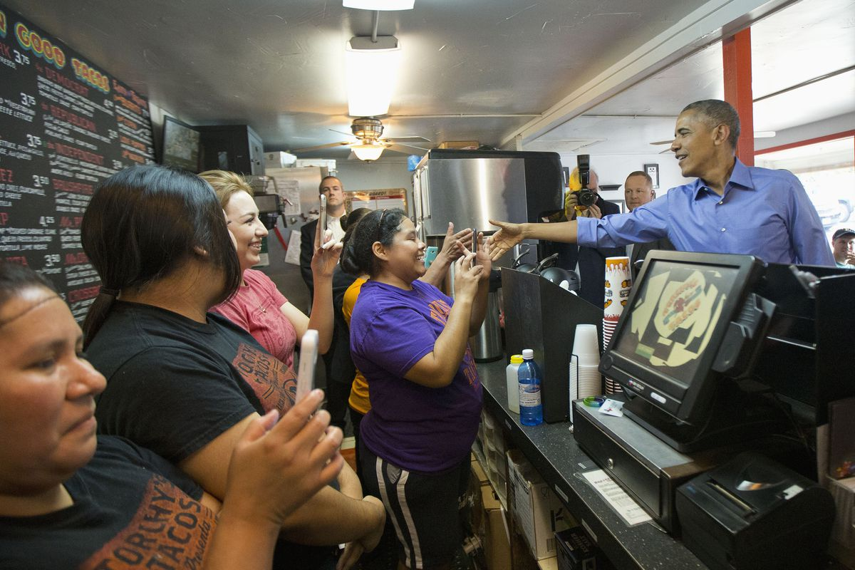 President Barack Obama at Torchy's Tacos on South 1st Street in Austin