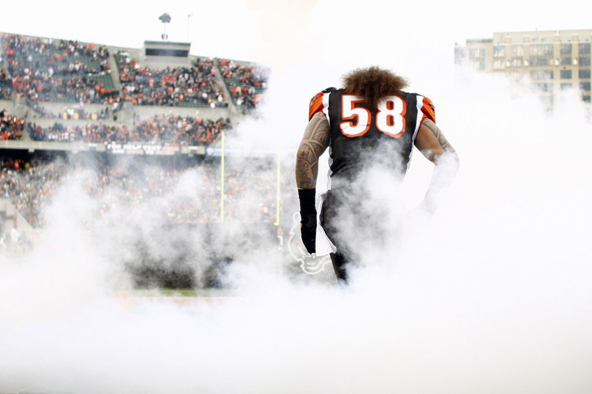 CINCINNATI, OH - JANUARY 01:  Rey Maualuga #58 of the Cincinnati Bengals takes the field for the game against the Baltimore Ravens at Paul Brown Stadium on January 1, 2012 in Cincinnati, Ohio.  (Photo by John Grieshop/Getty Images)