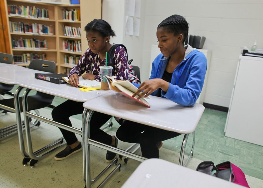 Fourteen-year-old twins Khadejah (left) and Yazmine Taylor. Both girls take ninth grade Algebra and English embedded honors at Brooklyn Prospect.