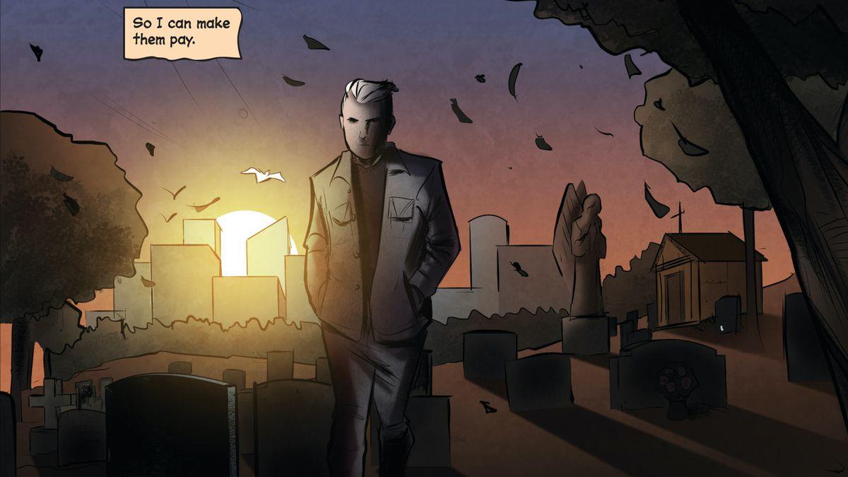 Joe Hardy walks away from Nancy Drew's grave, vowing to maker her murderers pay, in Nancy Drew and the Hardy Boys: The Death of Nancy Drew #1, Dynamite Comics (2020).