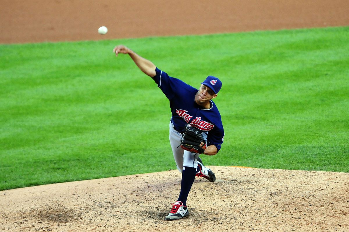 June 5, 2012; Detroit, MI, USA; Cleveland Indians starting pitcher Ubaldo Jimenez (30) pitches in the first inning against the Detroit Tigers at Comerica Park. Mandatory Credit: Andrew Weber-US PRESSWIRE