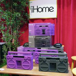 iHome gifted celebs with more tech toys, like their portable bluetooth stereo boombox ($200) in a sleek rubberized finish.