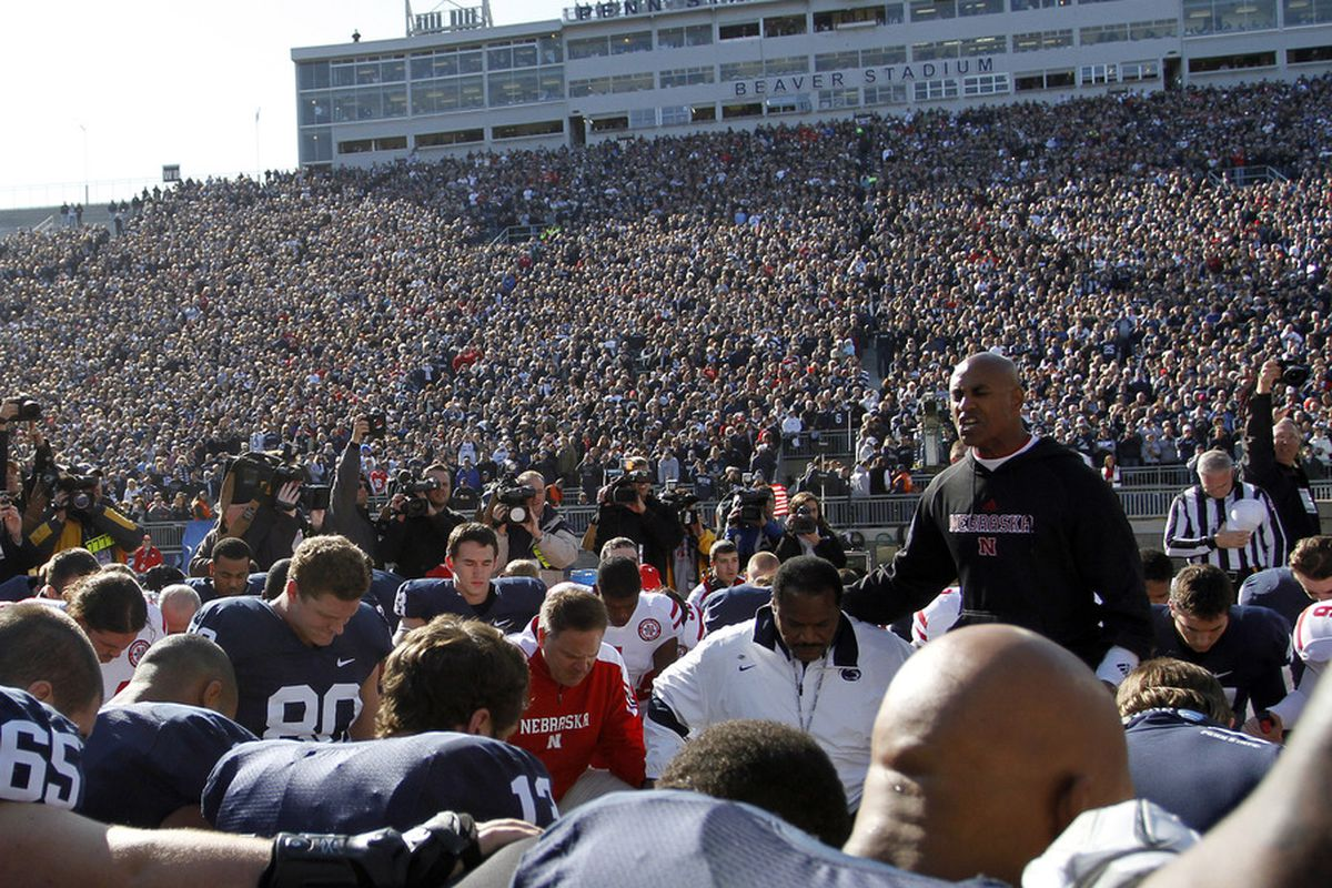 When Nebraska played Penn State in the wake of the revelations of abuse by a former Penn State assistant coach, Ron Brown was a uniter. This week in Omaha, he was a divider.  (Photo by Justin K. Aller/Getty Images)