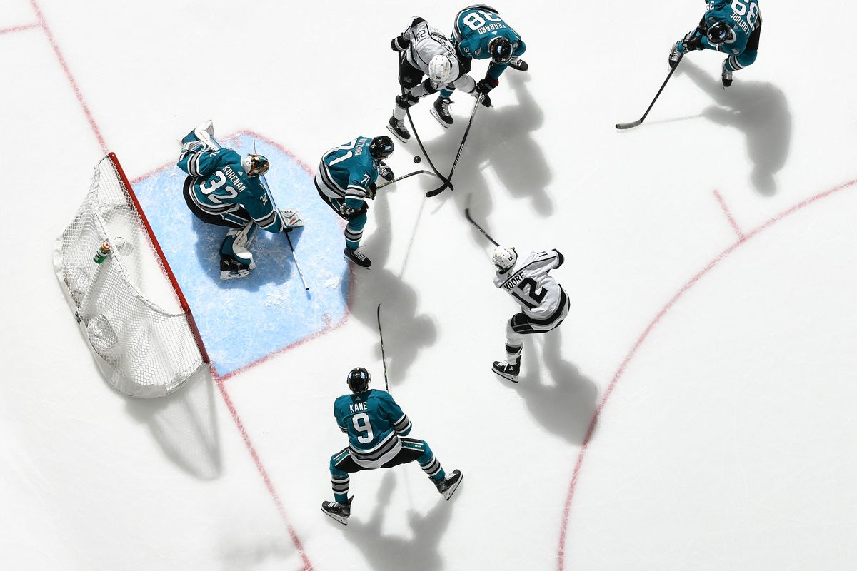 An overhead view as Josef Korenar #32 of the San Jose Sharks looks to make the save against the Los Angeles Kings at SAP Center on April 10, 2021 in San Jose, California.