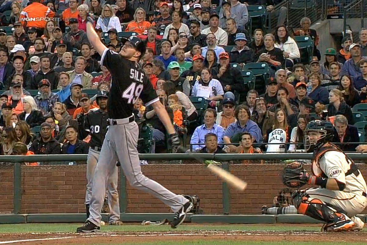 Chris Sale's hitting mechanics look more natural than his pitching mechanics.