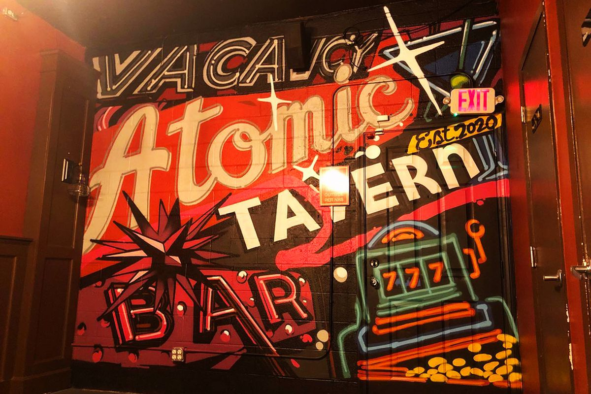 A mural painted by local artist Brett Rosepiler, on  a back wall at the forthcoming Atomic Tavern.