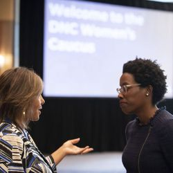 Rep. Robin Kelly D-Il., and Illinois Democratic House Nominee Lauren Underwood just before speaking to the DNC Women's Caucus at the party's summer meeting in Chicago on August 24, 2018.   Colin Boyle/Sun-Times