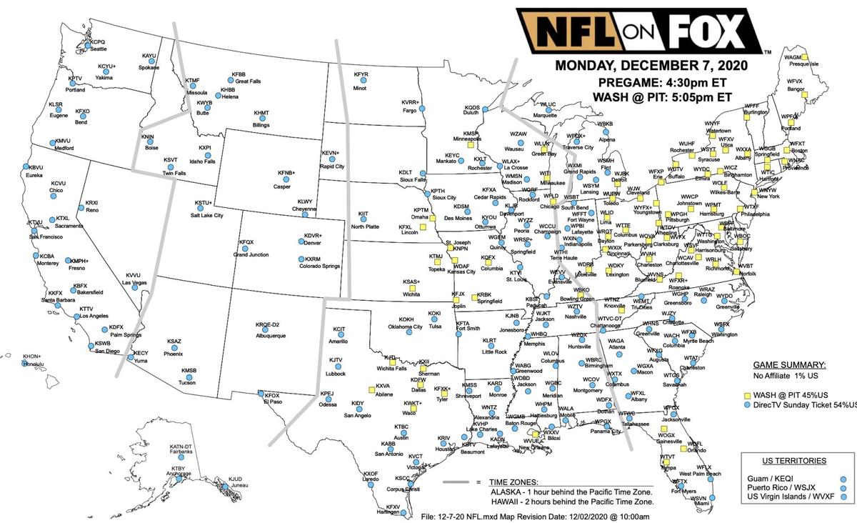 FOX Sports broadcast map for Washington Football Team vs. Pittsburgh Steelers