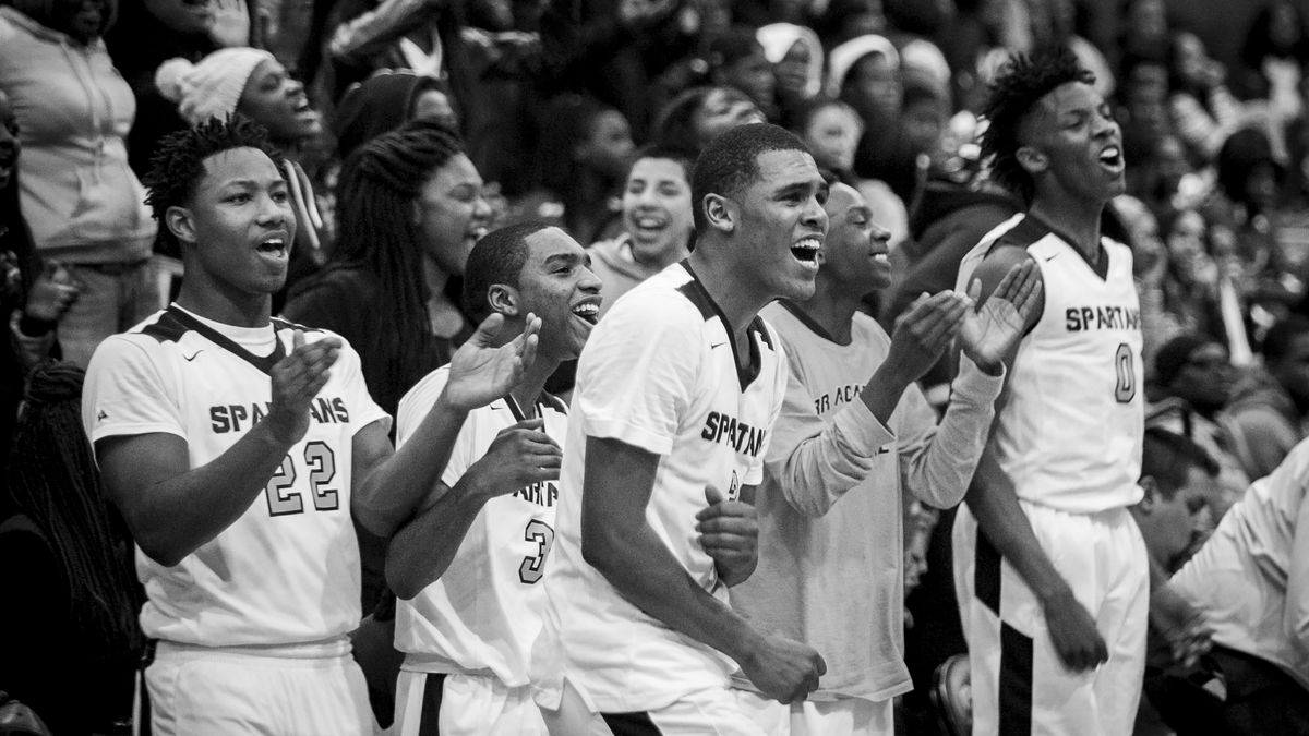 Orr Academy High School players celebrate the team's 79-74 win against North Lawndale College Prep High School, Jan. 13, 2017.