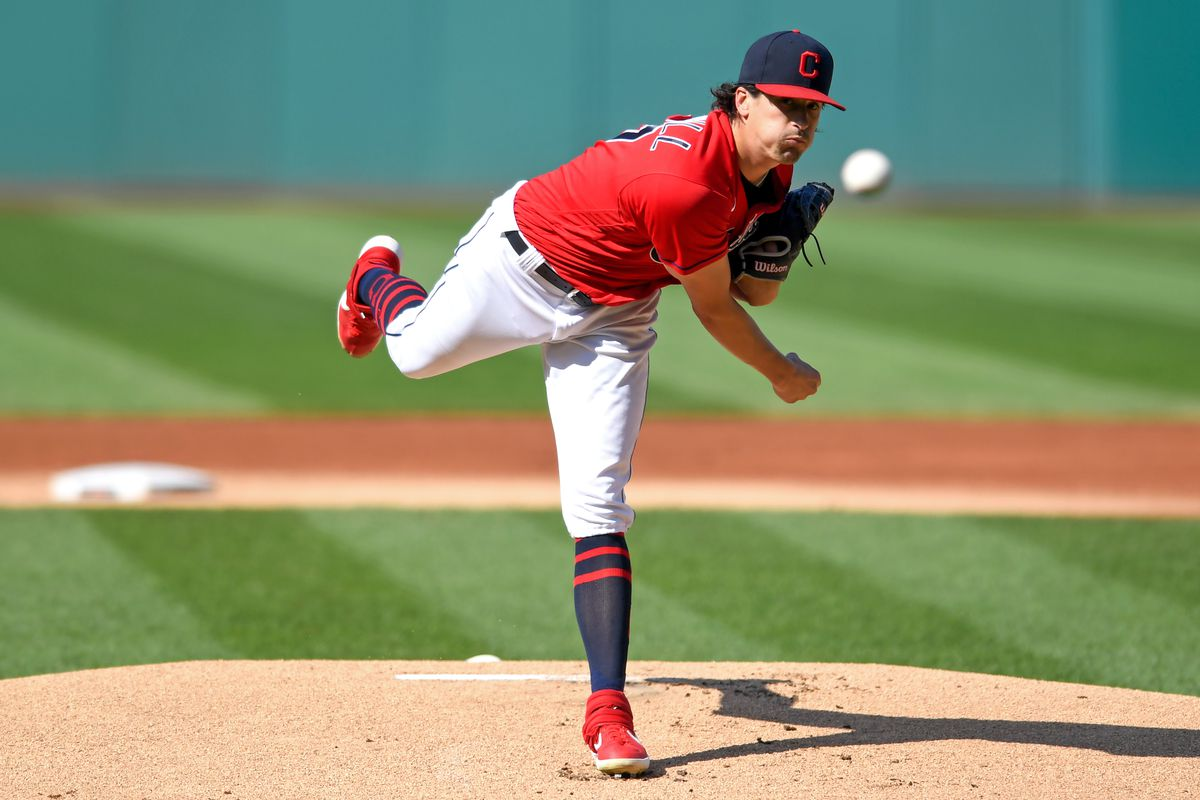 Cal Quantrill #47 of the Cleveland Indians throws a pitch in the first inning against the Boston Red Sox at Progressive Field on August 28, 2021 in Cleveland, Ohio.