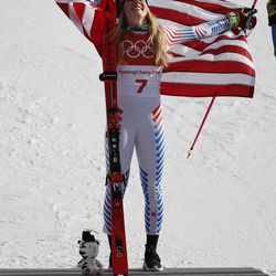 Mikaela Shiffrin, of the United States, celebrates her gold medal during the venue ceremony at the Women's Giant Slalom at the 2018 Winter Olympics in Pyeongchang, South Korea, Thursday, Feb. 15, 2018., Thursday, Feb. 15, 2018.