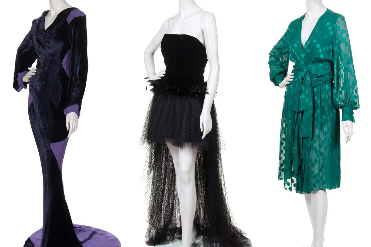 <strong>Vivienne Westwood</strong> evening gown in navy velvet and purple crepe—$300-$500; <strong>Givenchy</strong> evening gown in black velvet, lace and feathers—$300-500; <strong>Christian Dior</strong> dress in green jacquard—$400-600.