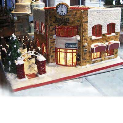 Gingerbread restaurant set on the corner of a street.
