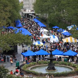 This Sept. 18, 2011 photo shows crowds at events during the 2011 Brooklyn Book Festival, in the Brooklyn borough of New York, which has quickly become one of the nation's top events of its kind since starting in 2006. This year's festival is scheduled for Sept. 23 in and around Brooklyn Borough Hall in downtown Brooklyn, with more than 280 writers participating and crowds expected to approach 40,000.
