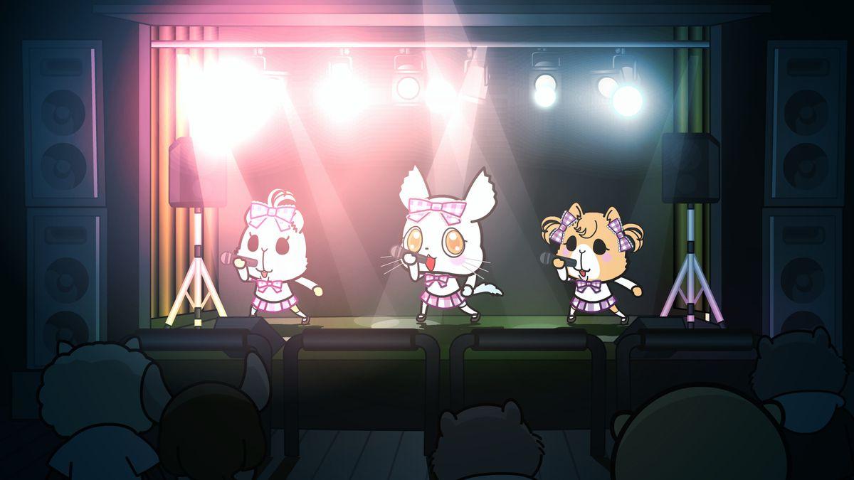 a trio of cartoon animals performing onstage
