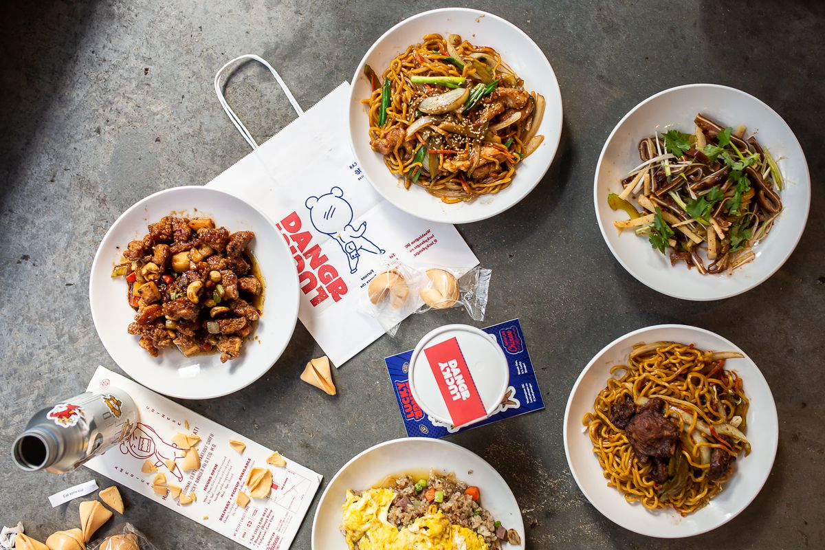 American Chinese dishes from Lucky Danger include cashew chicken, left, lo mein, pig ear salad, and confit duck fried rice.