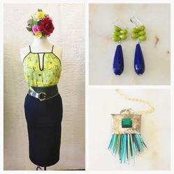 BB Dakota Elma tank, $62; Yvette Skirt, $62; vintage belt, $16; Jill Ellen dangle earrings, $20; Sultana Maria porcupine quill pendant, $44