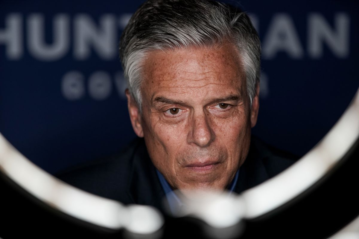 Republican gubernatorial candidate and former governor Jon Huntsman Jr. gives a television interview by Zoom at his campaign office in Salt Lake City on Tuesday, June 30, 2020.