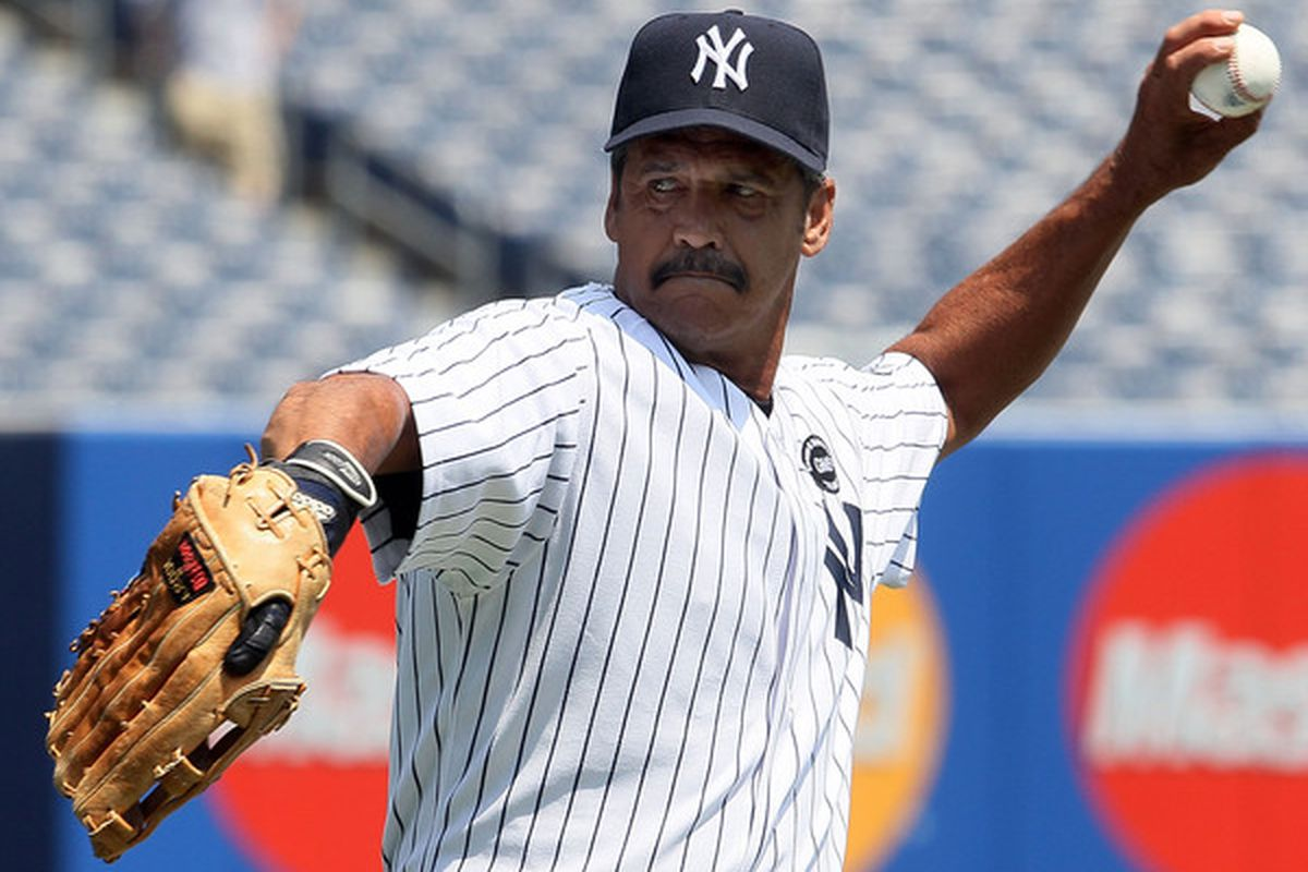 Former New York Yankee Ron Guidry warms up before the teams 64th Old-Timer's Day before the MLB game against the Tampa Bay Rays on July 17 2010 at Yankee Stadium in the Bronx borough of New York City.  (Photo by Jim McIsaac/Getty Images)