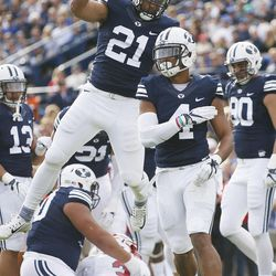 Brigham Young Cougars linebacker Fred Warner (4) celebrates a sack on the Southern Utah Thunderbirds  in Provo on Saturday, Nov. 12, 2016.