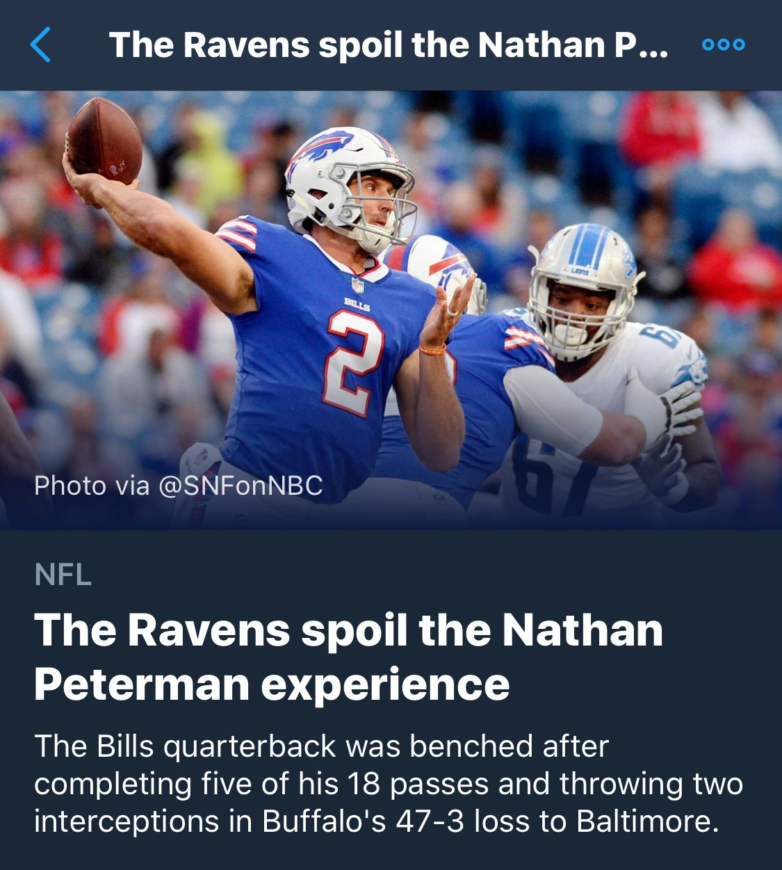 Whoever Runs The Twitter Moments Has Clearly Never Watched Nathan Peterman Play Football