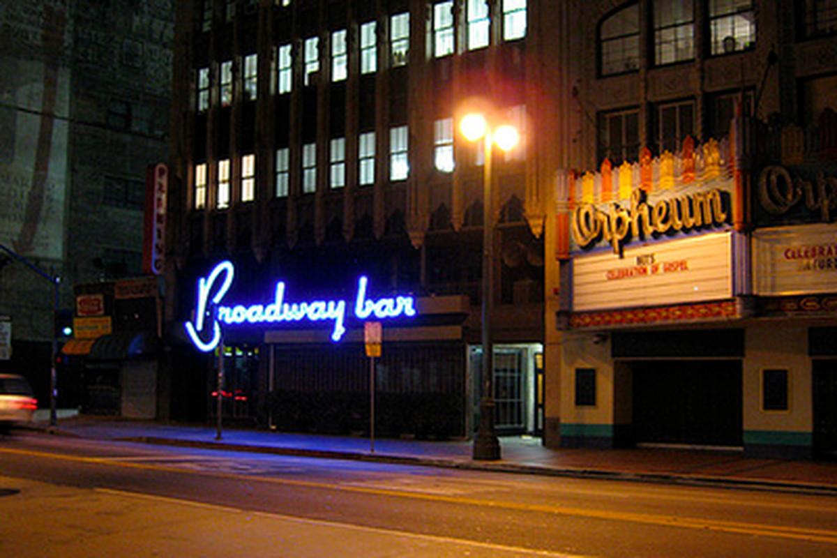 Outside Broadway Bar, Downtown.