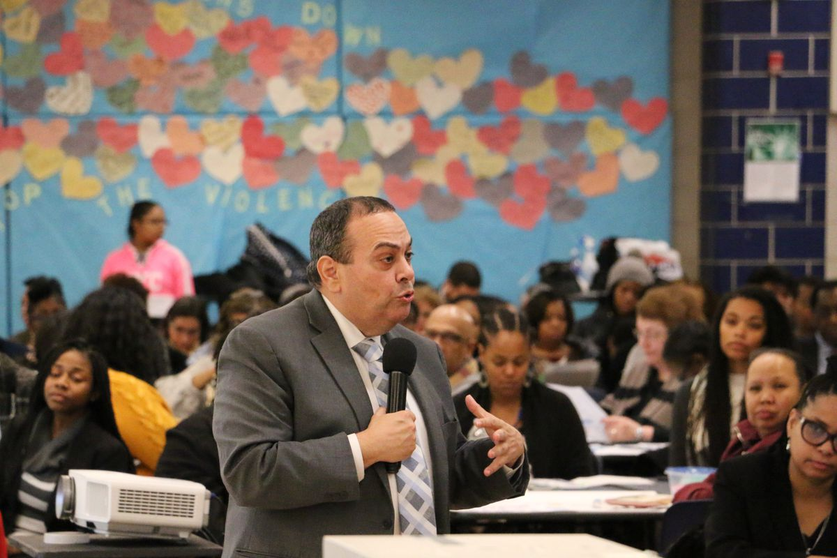 Superintendent Roger León unveiled his strategy to improve the district at Central High School on Wednesday, January 16, 2019.