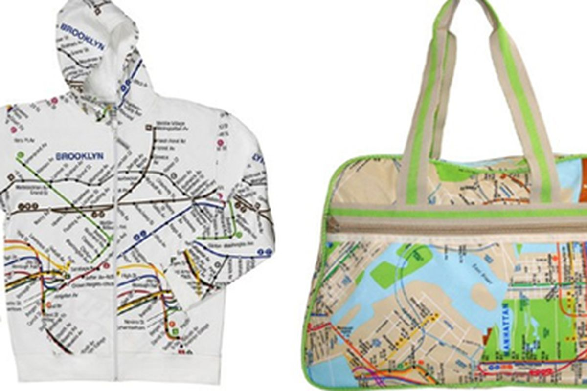 """<a href=""""http://www.transitmuseumstore.com/drupal/shop/hoodies/new-york-subway-brooklyn-white-mens-hoodie"""">MTA hoodie</a> and <a href=""""http://www.transitmuseumstore.com/drupal/shop/accessories/new-york-city-subway-map-large-carrying-bag"""">tote bag</a"""