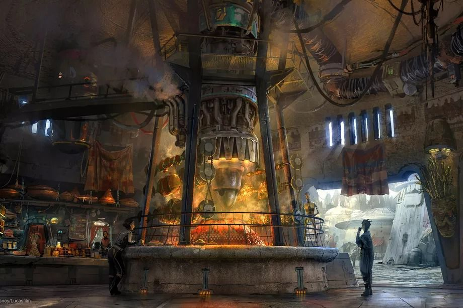 Concept art showing Ronto Roasters, an open-air dining option coming to Star Wars: Galaxy's Edge.