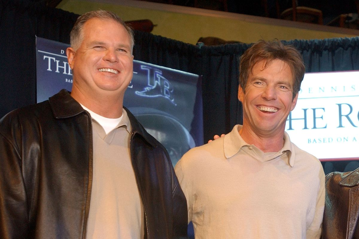 """Jim Morris and Dennis Quaid, who played him in """"The Rookie."""" Both are Mean Dads, undoubtedly."""