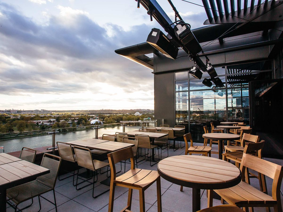 The rooftop patio at 12 Stories above the InterContinental at the Wharf