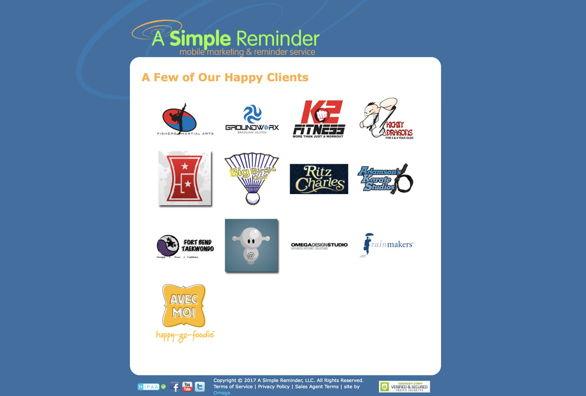 An older version of A Simple Reminder's website, including a list of clients.