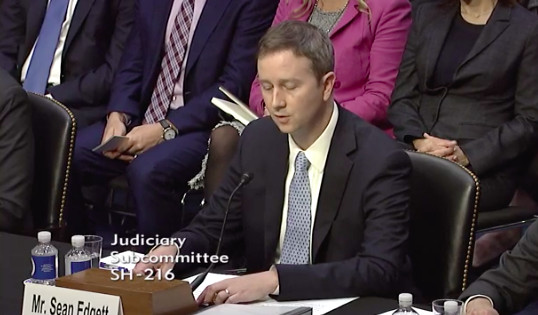 Sean Edgett, Twitter's deputy general counsel,testifying before Congress about Russia's use of platform during 2016 presidential election