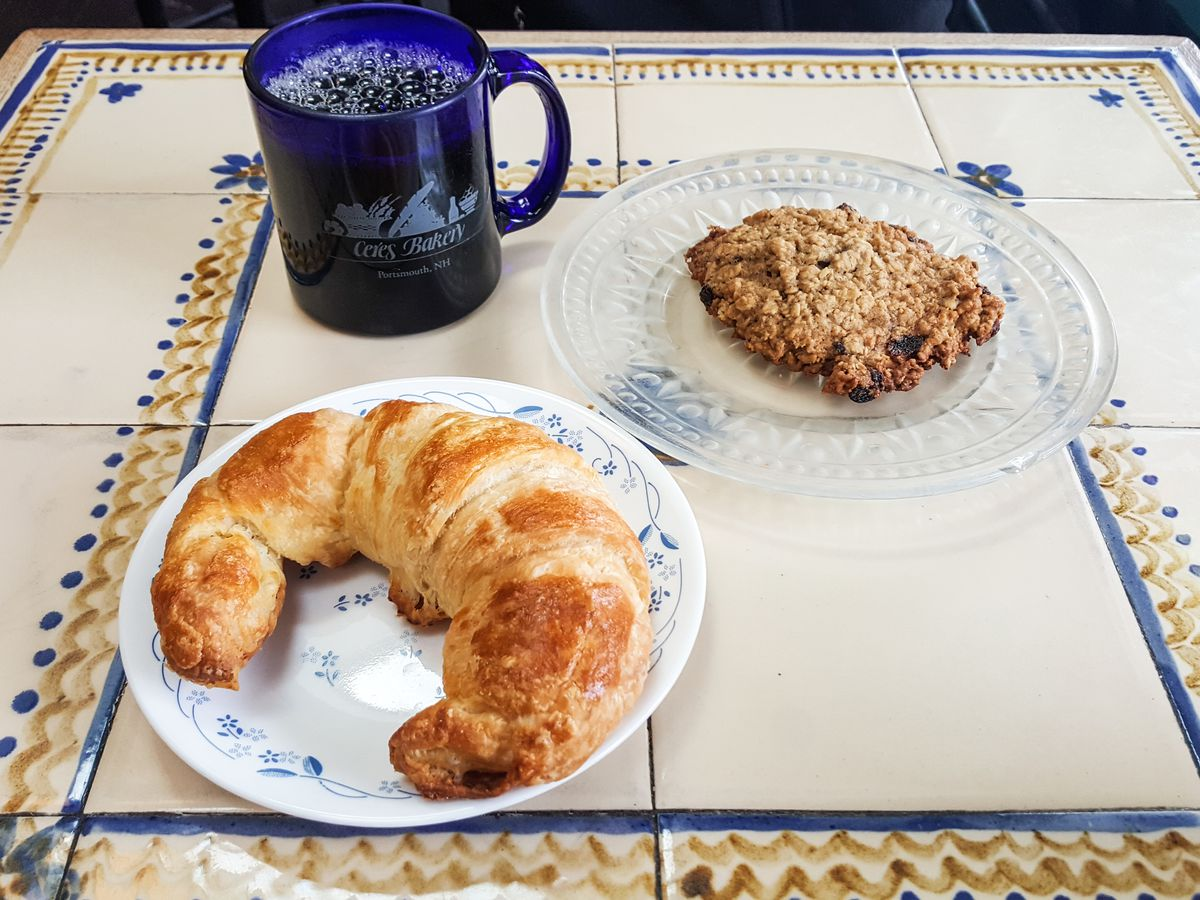 Croissant, cookie, and coffee at Ceres Bakery