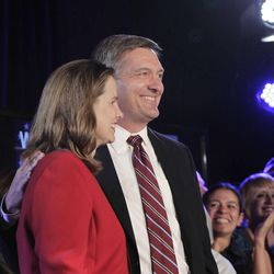 Rep. Jim Matheson and his wife, Amy,  celebrates his Fourth District win over Mia Love as Utah democrats gather at the Salt Lake Sheraton on election night  Wednesday, Nov. 7, 2012, in Salt Lake City, Utah.