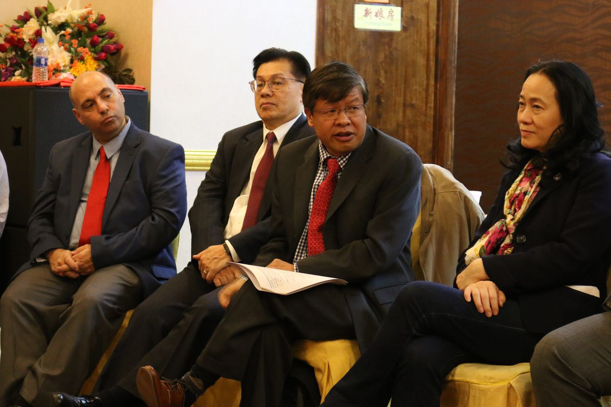 Asian-American parents and community leaders gathered in Brooklyn to learn about a lawsuit against part of the city's plan to integrate specialized high schools.