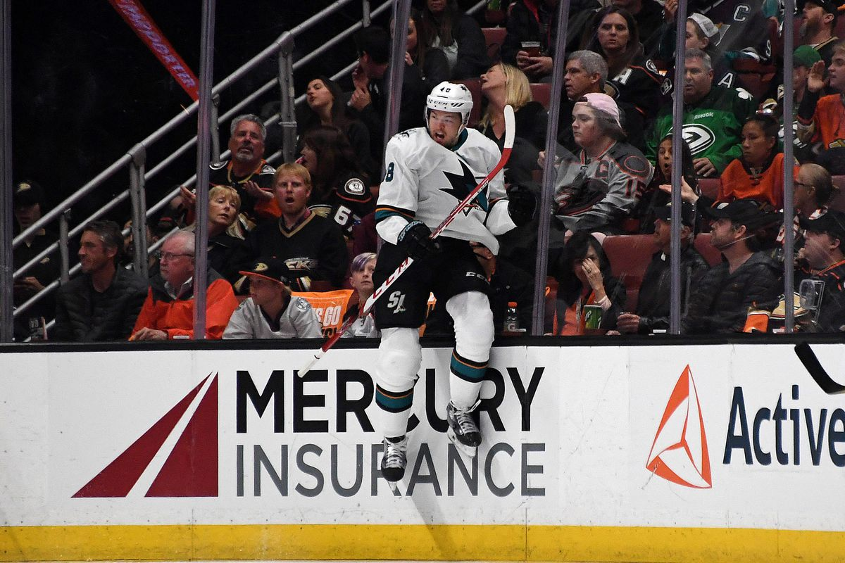 Apr 14, 2018; Anaheim, CA, USA; San Jose Sharks center Tomas Hertl (48) celebrates after scoring a goal during the second period against the Anaheim Ducks in game two of the first round of the 2018 Stanley Cup Playoffs at Honda Center. The Sharks defeated